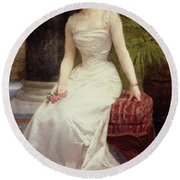 Portrait Of Madame Olry-roederer Round Beach Towel by William-Adolphe Bouguereau
