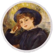 Portrait Of Mademoiselle Demarsy Round Beach Towel by Pierre Auguste Renoir