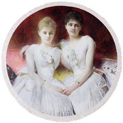 Portrait Of Marthe And Terese Galoppe Round Beach Towel