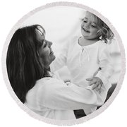 Portrait Of Mother And Daughter Round Beach Towel