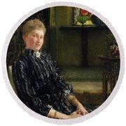 Portrait Of Mrs Ralph Sneyd Round Beach Towel