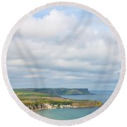 Portrait View Of White Park Bay Round Beach Towel