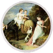 Portraits Of The Children Of The Rev. Joseph Arkwright Of Mark Hall Essex Round Beach Towel