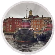 Portsmouth Tugs Round Beach Towel by Joann Vitali