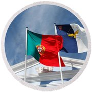 Portugal And Azores Flags Round Beach Towel
