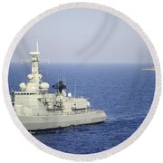 Portuguese Navy Frigate Nrp Bartolomeu Round Beach Towel