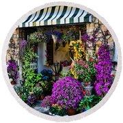 Positano Flower Shop Round Beach Towel