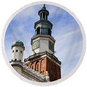 Posnan Poland Clock Tower Round Beach Towel