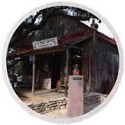 Post Office In Luckenbach Texas Round Beach Towel