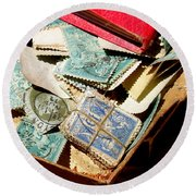 Postage Stamps Round Beach Towel