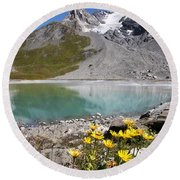 Postcard From Alpes Round Beach Towel