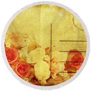 Postcard With Floral Pattern Round Beach Towel