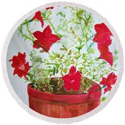 Pot Of Flowers Two Round Beach Towel