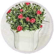 Pot Of Red Roses On Lace Background Round Beach Towel