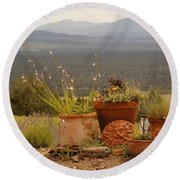 Pots And Vista Round Beach Towel