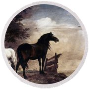 Potter: Horses, 1649 Round Beach Towel
