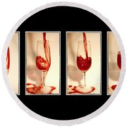 Pouring Red Wine Round Beach Towel by Svetlana Sewell