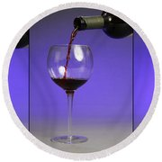 Pouring Wine Round Beach Towel