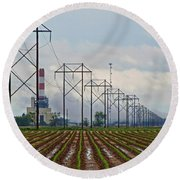 Power And Plants I  Round Beach Towel
