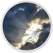 Power Of Light Round Beach Towel