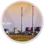 Power Plant Round Beach Towel