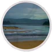 Powlett River Inlet On A Stormy Morning Round Beach Towel