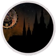 Prague Casle - Cathedral Of St Vitus - Monuments Of Mysterious C Round Beach Towel by Michal Boubin
