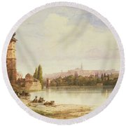 Prague Czechoslovakia Round Beach Towel