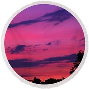 Prague Sunset Round Beach Towel