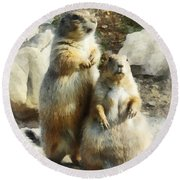 Prairie Dog Formal Portrait Round Beach Towel