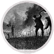 Prairie Fire, 1874 Round Beach Towel