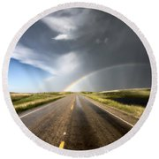 Prairie Hail Storm And Rainbow Round Beach Towel