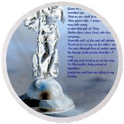 Prayer To St Christopher Round Beach Towel