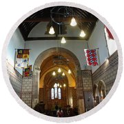 Praying At The St Mary Church Inside Dover Castle In England Round Beach Towel
