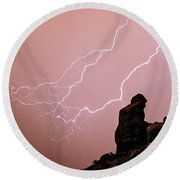 Praying Monk Camelback Mountain Lightning Monsoon Storm Image Round Beach Towel by James BO  Insogna