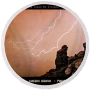 Praying Monk Camelback Mountain Lightning Monsoon Storm Image Tx Round Beach Towel by James BO  Insogna