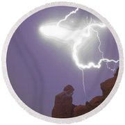 Praying Monk Lightning Halo Monsoon Thunderstorm Photography Round Beach Towel