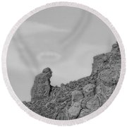 Praying Monk With Halo Camelback Mountain Bw Round Beach Towel