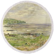 Preaching Of St. Columba Iona Inner Hebridies Round Beach Towel by William McTaggart