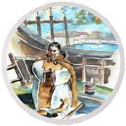 Preaching The Bible On The Conquistadores Boat In Vila Do Conde In Portugal Round Beach Towel by Miki De Goodaboom