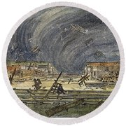 Kansas Cyclone, 1887 Round Beach Towel
