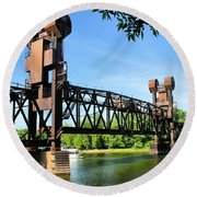 Prescott Lift Bridge Round Beach Towel by Kristin Elmquist