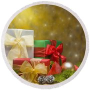 Presents Decorated With Christmas Decoration Round Beach Towel