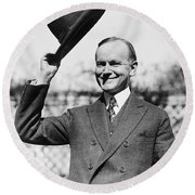 President Calvin Coolidge Tips Is Hat Round Beach Towel