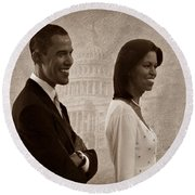 President Obama And First Lady S Round Beach Towel