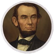 President Of The United States Of America - Abraham Lincoln  Round Beach Towel