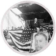 President Taft Giving A Speech In Augusta - Georgia C 1910 Round Beach Towel