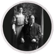 President William Howard Taft With Daughter Round Beach Towel by International  Images
