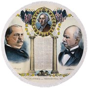 Presidential Campaign, 1892 Round Beach Towel
