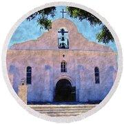 Presido Chapel San Elizario Texas Round Beach Towel